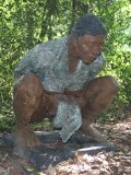 Won Lee, Girl at the Outhouse, Bronze with a naturalistic variegated patina, Signed, Dated 04 and Numbered 3 of 8, 97cm. high bb