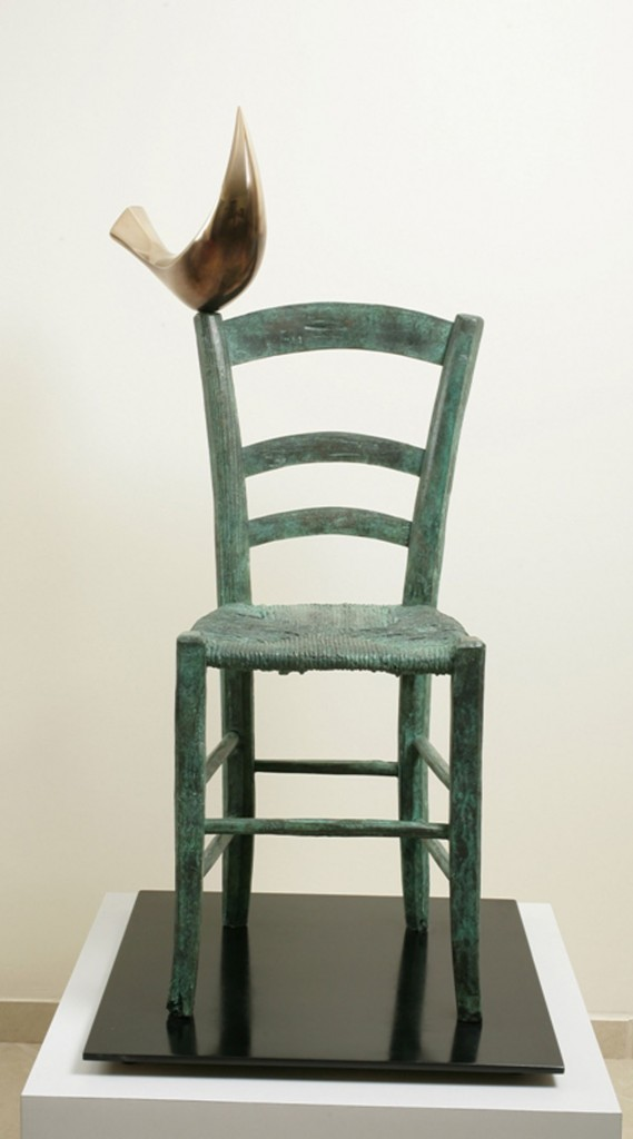 Bird on Chair by Isaac Kahn, Bronze chair with green patina with stylised bird in gold patina perched on top