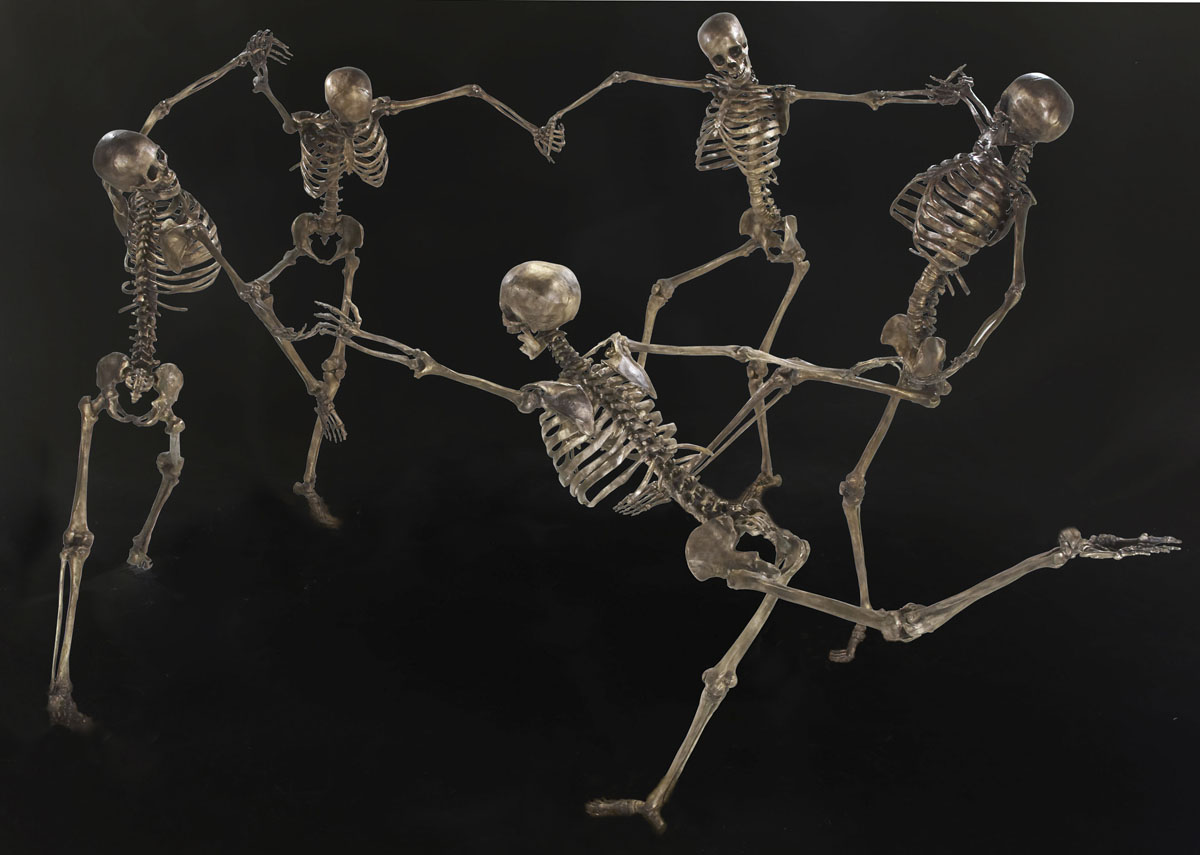 homage to matisse 'the dance' bronze, wilfred pritchard, five human skeletons dancing in a ring